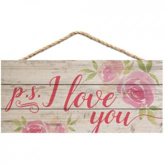 HSA 0141 Veggdekor - p.s. I Love You (25 x 11 cm)